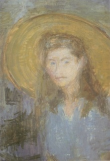 Gábor, Marianne: Self-portrait with picture hat