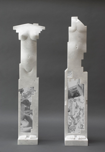 László Taubert: King and Queen - marble / photo collage