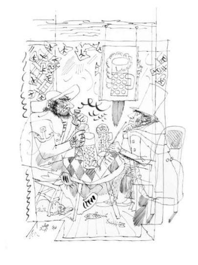 Hincz Gyula  - egyedi alkotások: Kaftán (Krúdy Gyula: A százgalléros c. könyv illusztrációja)