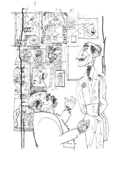 Hincz Gyula  - egyedi alkotások: Az ősok (Krúdy Gyula: A százgalléros c. könyv illusztrációja)