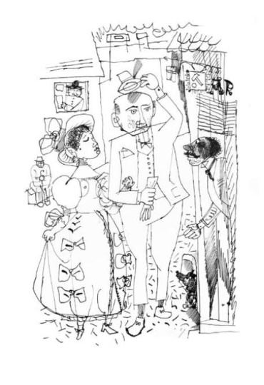 Hincz, Gyula - unique artworks: Mr. Dickens's friends (book illustrations of Gyula Krúdy: A százgalléros)