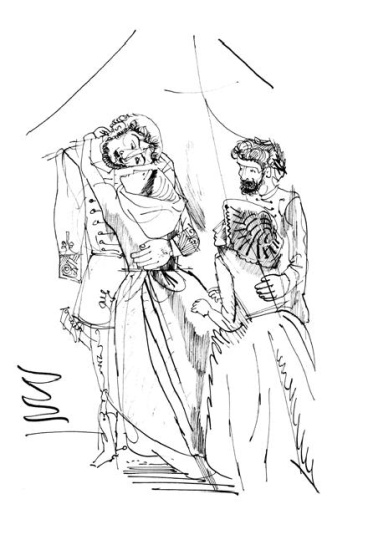Hincz Gyula  - egyedi alkotások: Nagyanyáink (Krúdy Gyula: A százgalléros c. könyv illusztrációja)