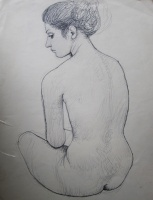 Czene, Béla: Sitting nude from the back