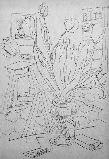 Amerigo Tot: Virágos csendélet a műteremben