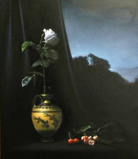 Luciano Longo: Still life with cherries at night