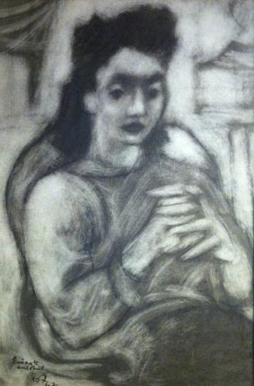 Amerigo Tot: Fischer Éva portréja a műteremben