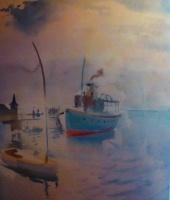 Csebi-Pogány, István: Boats arriving at the harbour of Füred