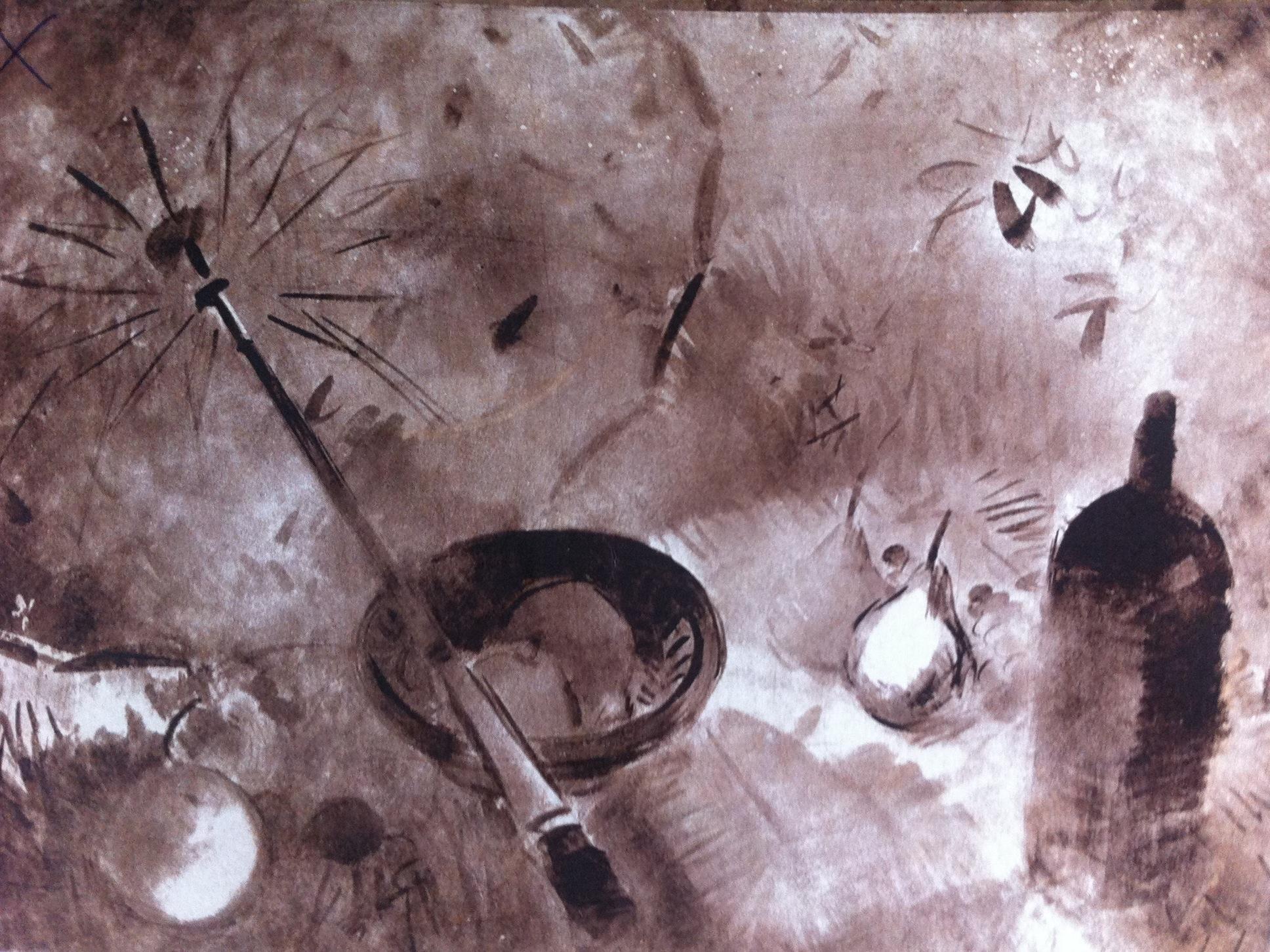 Csebi-Pogány, István: Picknick with blue parasol
