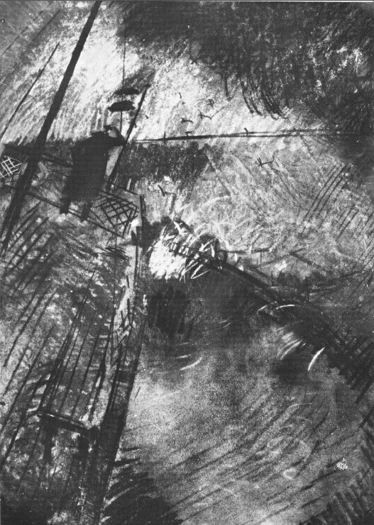 Csebi-Pogány, István: On deck in the storm