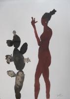Csató, József: Girl with cactus