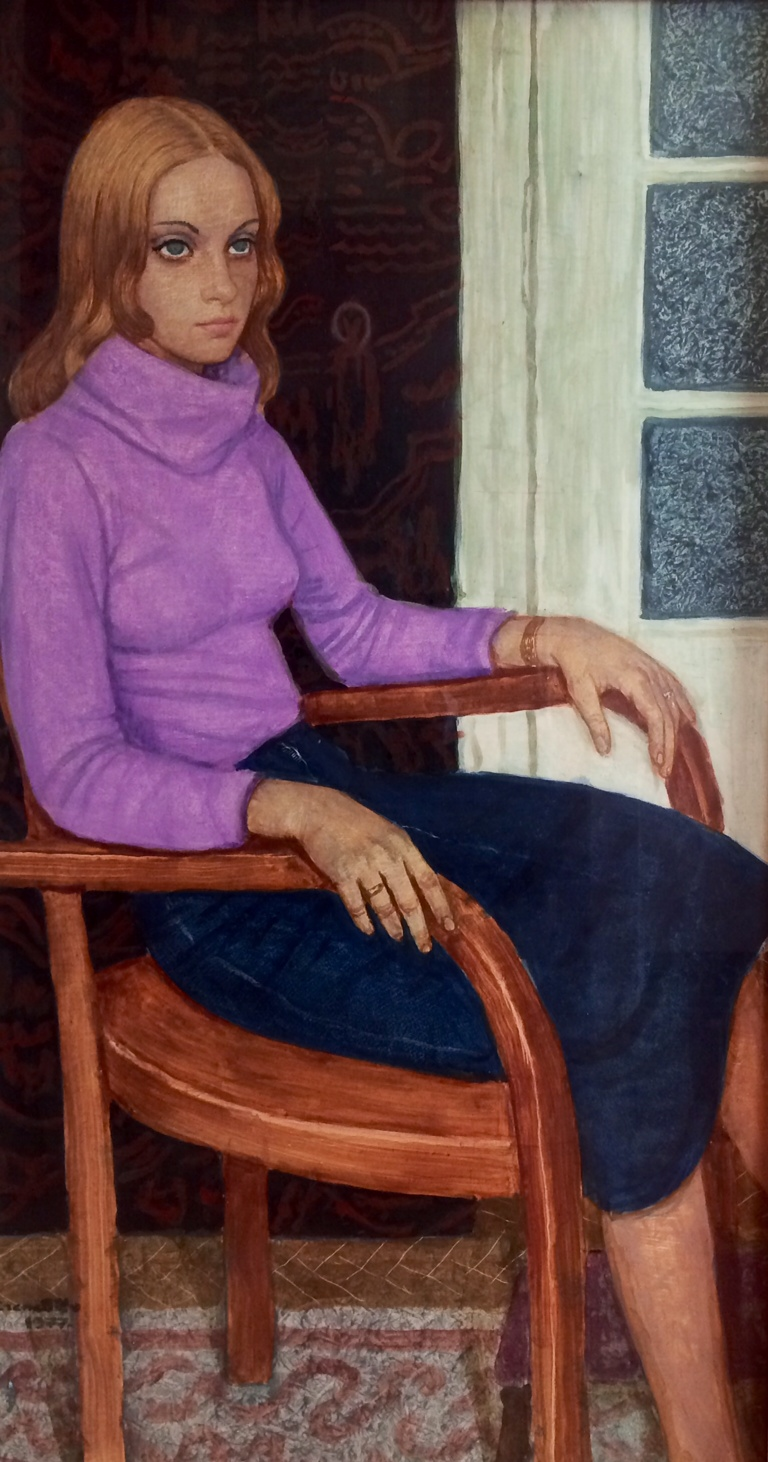 Czene, Béla: Girl in purple blouse