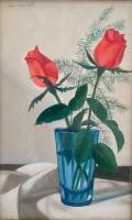 Mácsai István: Rózsák kék üvegpohárban