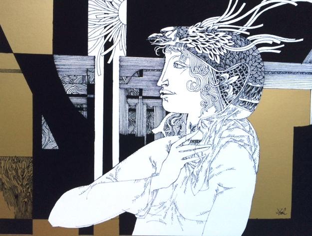 Szász Endre: Női portré oroszlánnal