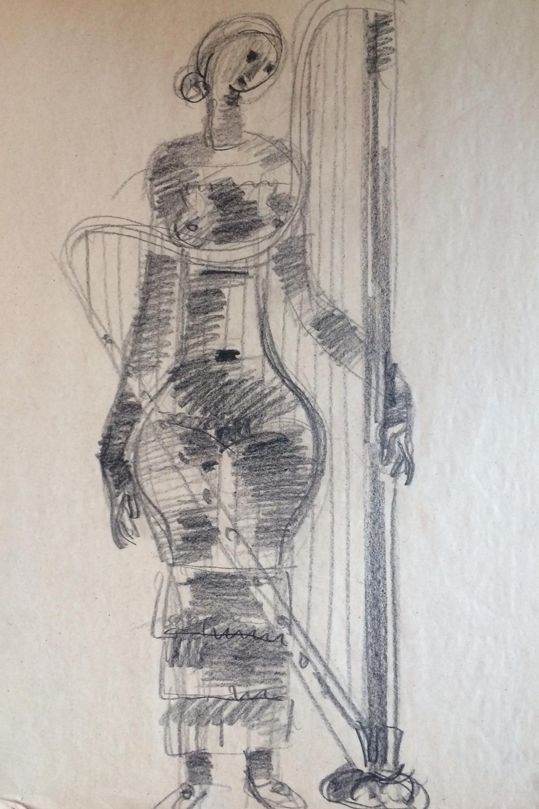 Somogyi József: Nő hárfával