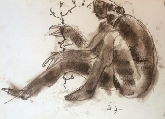Somogyi József: Nő virágzó ággal
