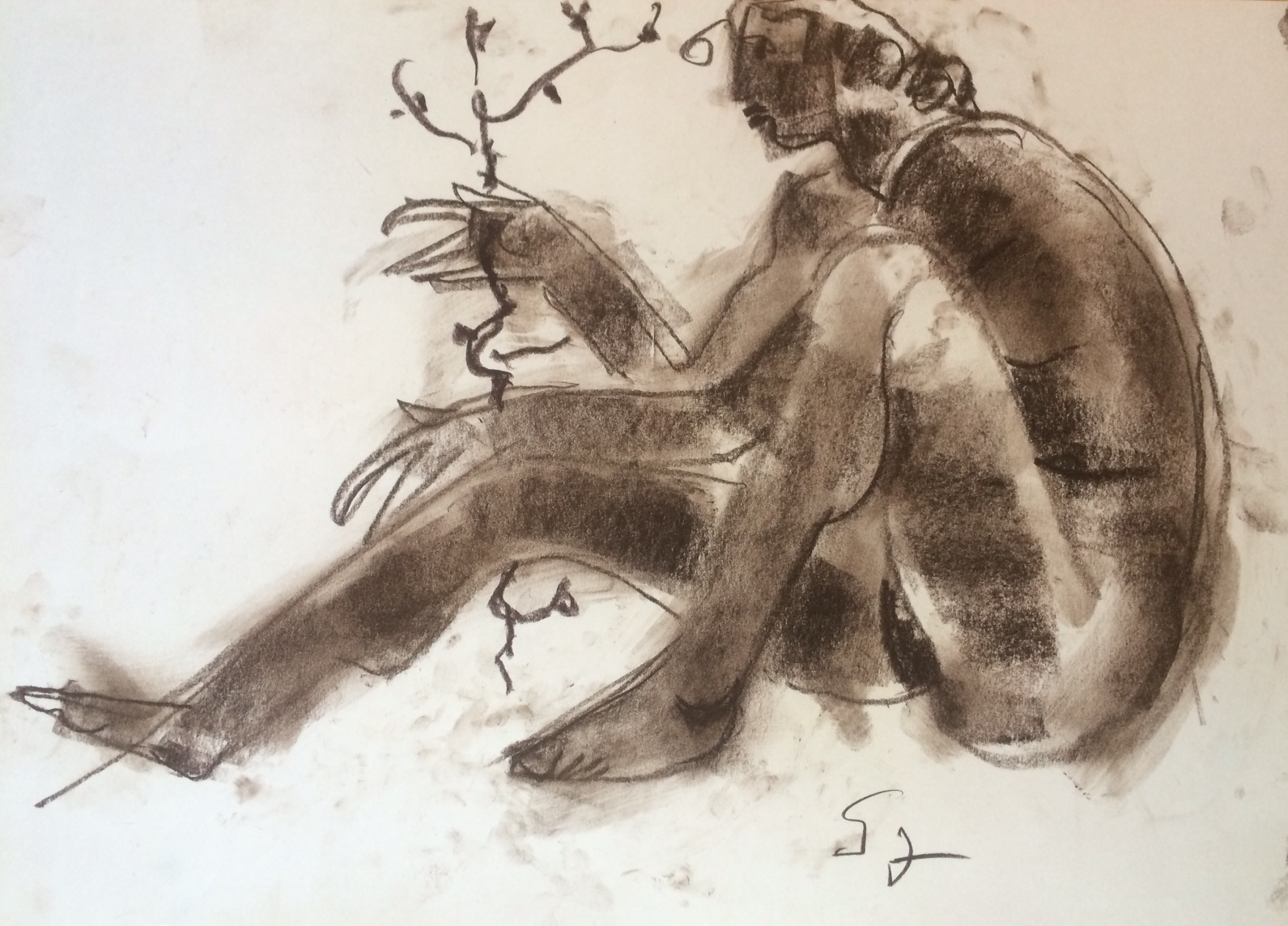 Somogyi, József: Woman with flowering branch