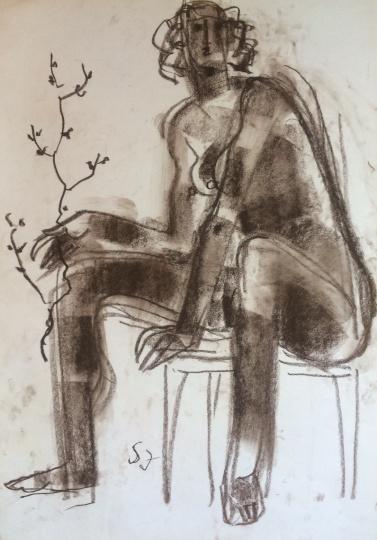 Somogyi József: Nő székben virágzó ággal