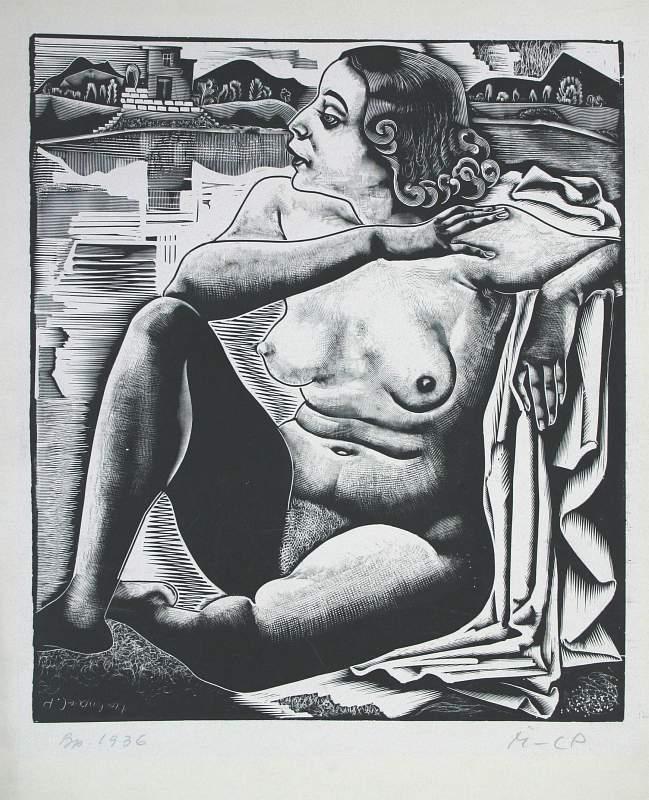 Molnár, C. Pál: Sitzendes Akt