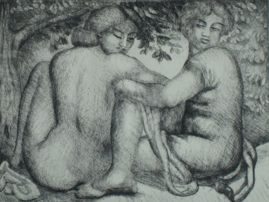 Aristide Maillol: Deux femme assise sous des feuillage