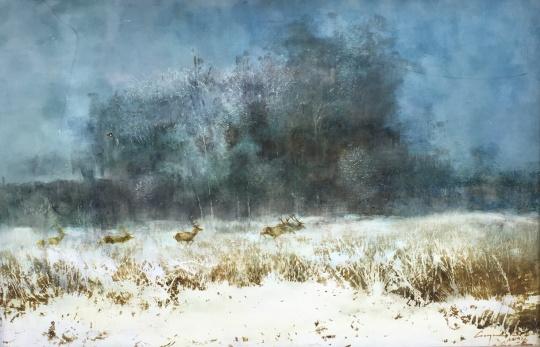 Csergezán Pál: Téli szarvasok