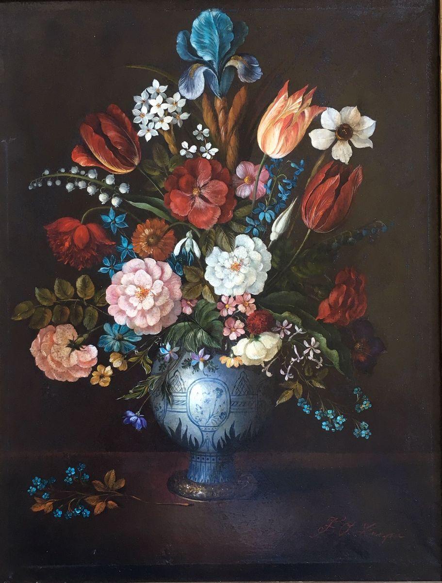 Oskar F. Knapp: Still-life with flowers