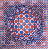 Vasarely, Victor: Komposition in Weiss, Blau und Rot