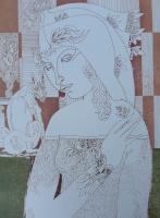 Szász, Endre - Ölbilder: Dame mit Blumen