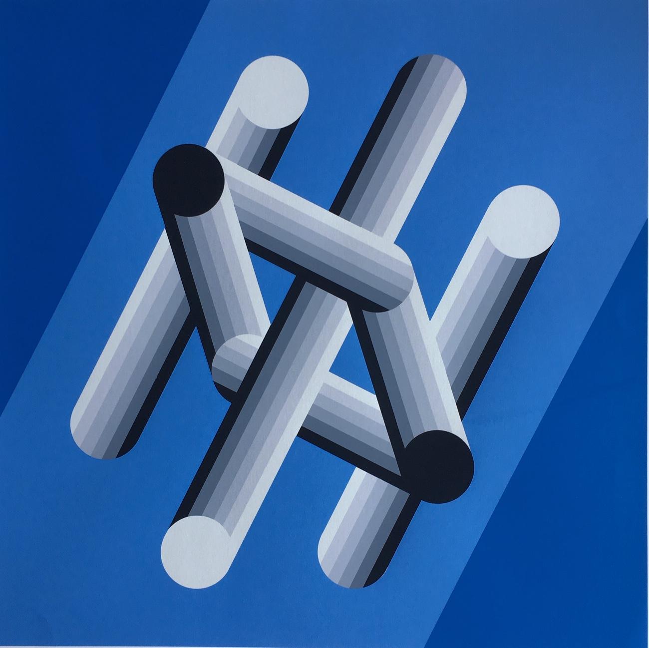 Victor Vasarely: Geometria (Kék formák)