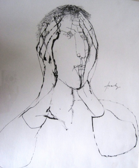Szalay, Lajos - unique drawings: Thinker