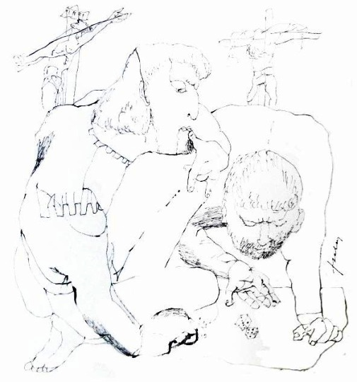 Szalay, Lajos - unique drawings: Dicing soldiers