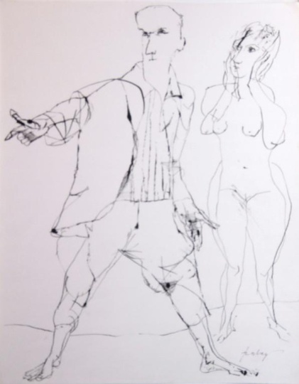 Szalay, Lajos - unique drawings: Couple