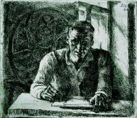 Szőnyi, István: Self-portrait with engraving press